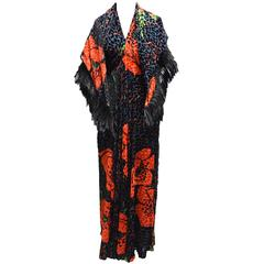 Bill Blass Burnout Velvet Leopard and Ostrich Feather Halter Dress and Shawl