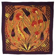 Hermes Silk Printed Abstract Tulip and Mum Scarf
