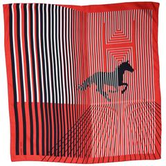 Hermes Black, Red, and White Striped Silk Scarf with Galloping Horse Print