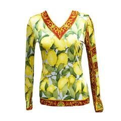 Dolce & Gabbana Lemon Tree and Baroque Printed Long Sleeved Blouse