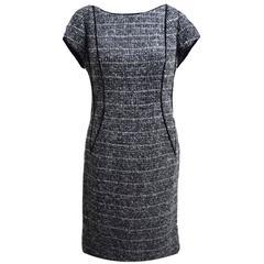 Lourdes Chaves Grey and Black Tweed Short Sleeved Sheath Dress
