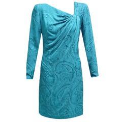 Carrolyne Roehm Teal Silk Raised Paisley Print Long Sleeved Shift Dress