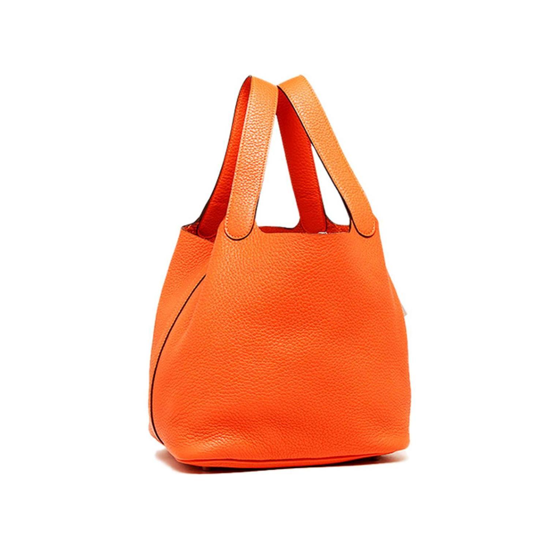 Hermes Orange Clemence Leather Picotin Mini Handbag at 1stdibs