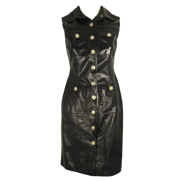 Oscar De La Renta Black Leather Sleeveless Shirt Dress At