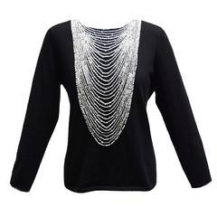 Naeem Khan Black Cashmere Sweater with Trompe l'oeil Beaded Neckline