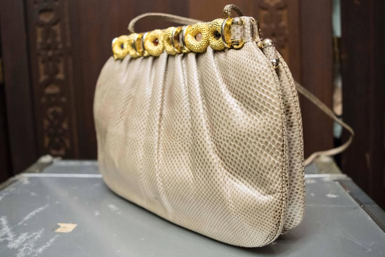1980s Judith Lieber Snakeskin Handbag For Sale 1
