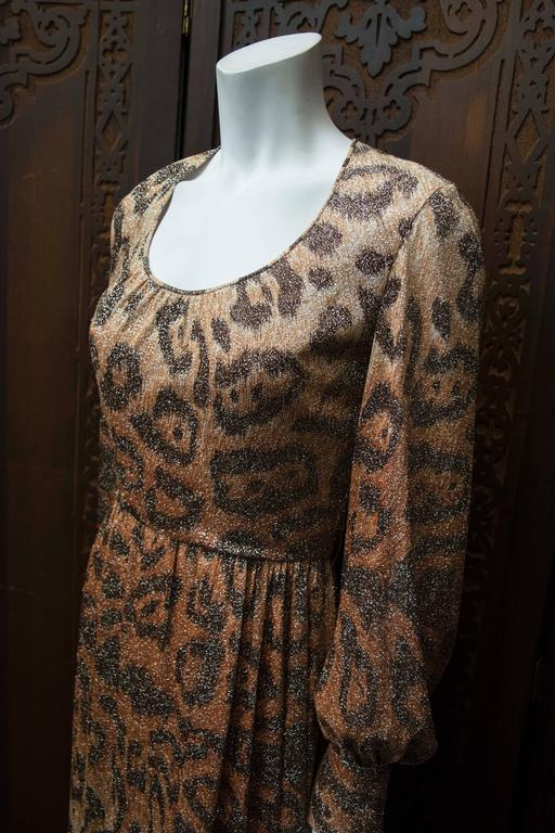 Brown Adele Simpson Sparkly Leopard Print Maxi Dress For Sale