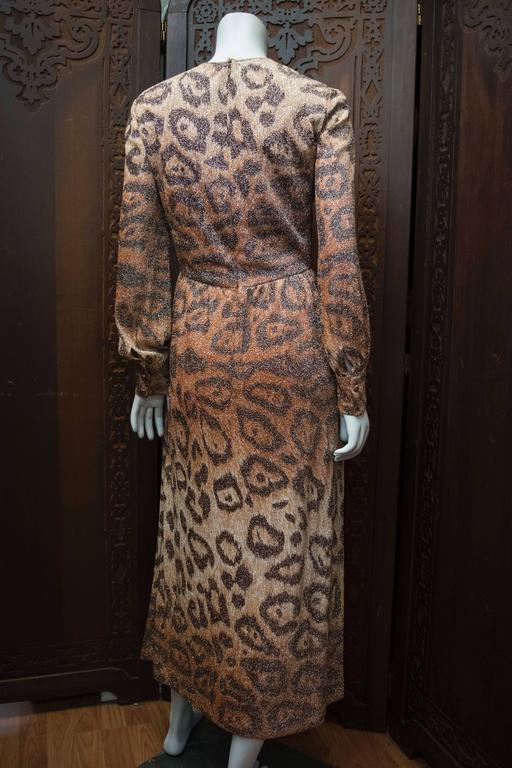 Adele Simpson Sparkly Leopard Print Maxi Dress In Excellent Condition For Sale In San Francisco, CA