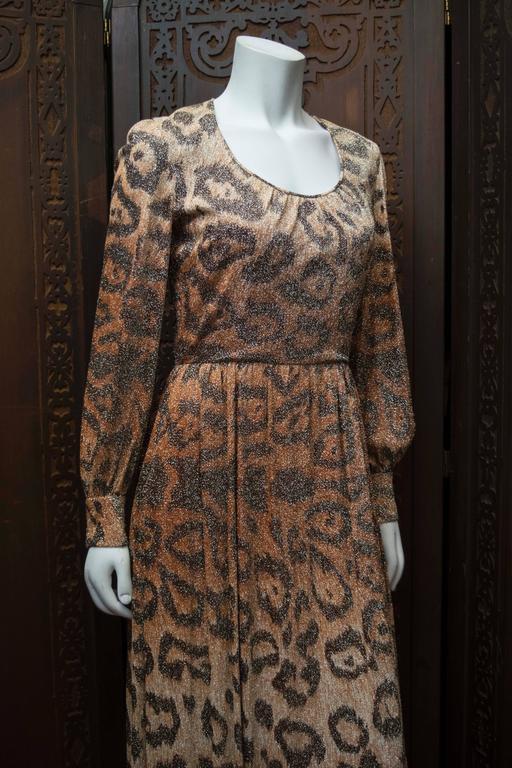 Adele Simpson Sparkly Leopard Print Maxi Dress For Sale 6
