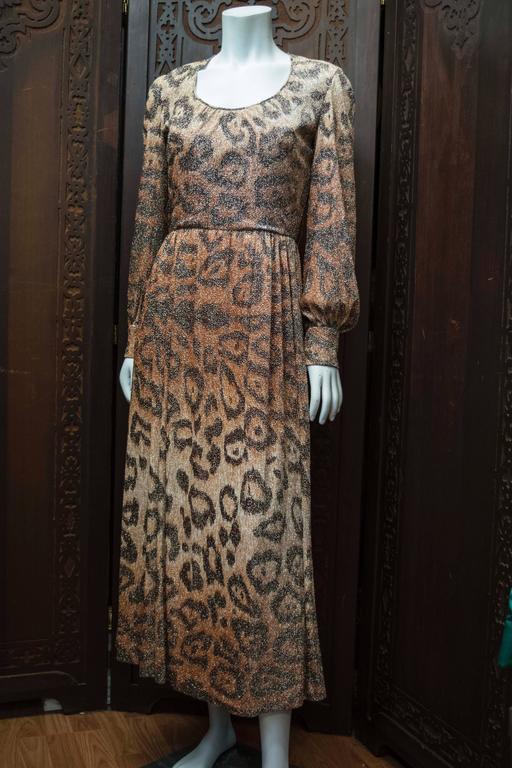 Adele Simpson Sparkly Leopard Print Maxi Dress For Sale 7