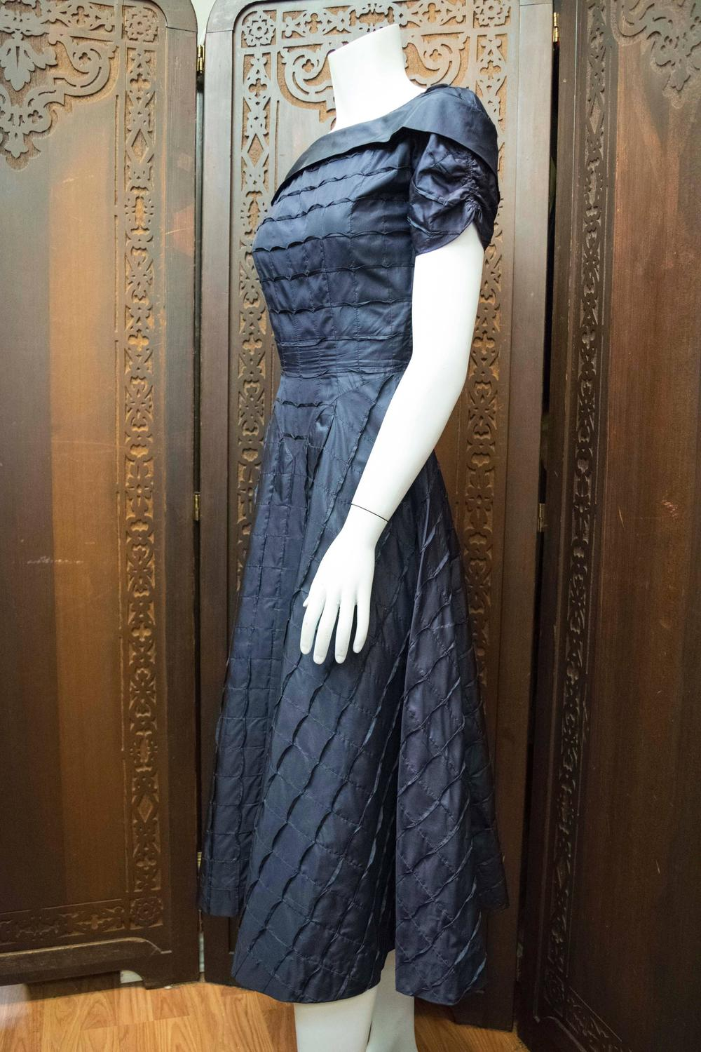 1950s Adele Simpson Navy Blue Cocktail Dress For Sale At