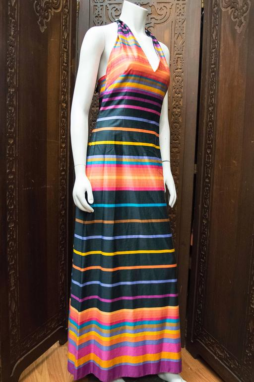 1970s Striped Maxi Dress In Excellent Condition For Sale In San Francisco, CA