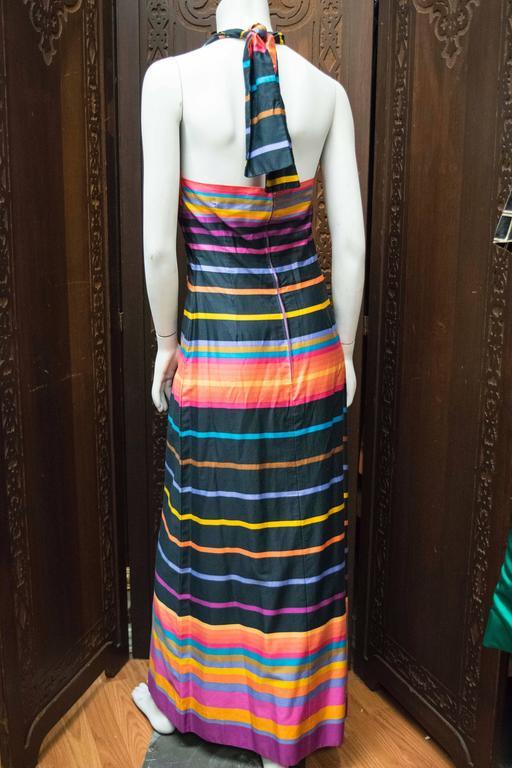 Black 1970s Striped Maxi Dress For Sale