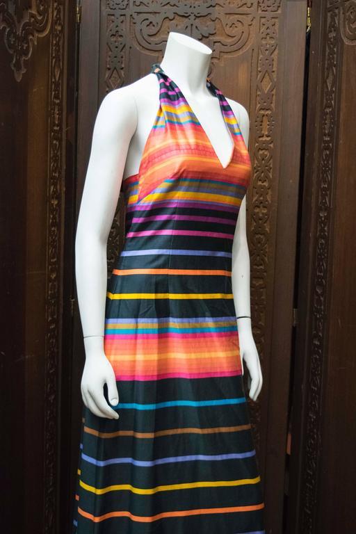Women's 1970s Striped Maxi Dress For Sale
