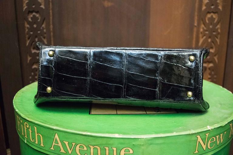1950s Bellestones Black Alligator Handbag 5