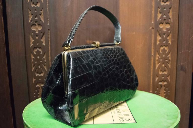1950s Bellestones Black Alligator Handbag 4