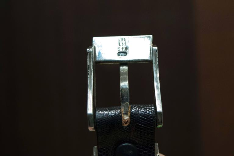 Black Lizard Belt with Sterling Silver Buckle In Excellent Condition For Sale In San Francisco, CA