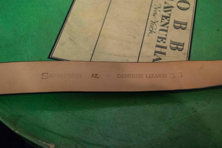 Men's Black Lizard Belt with Sterling Silver Buckle For Sale