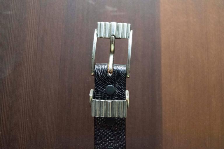Black Lizard Belt with Sterling Silver Buckle  Fabulous 1940s belt buckle paired with a black lizard belt.  Size 38