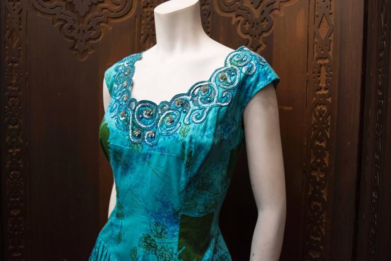 1950s Blue Sun Dress 3