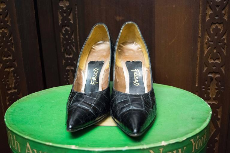 1950s Falenti Black Alligator High Heels  In Good Condition For Sale In San Francisco, CA