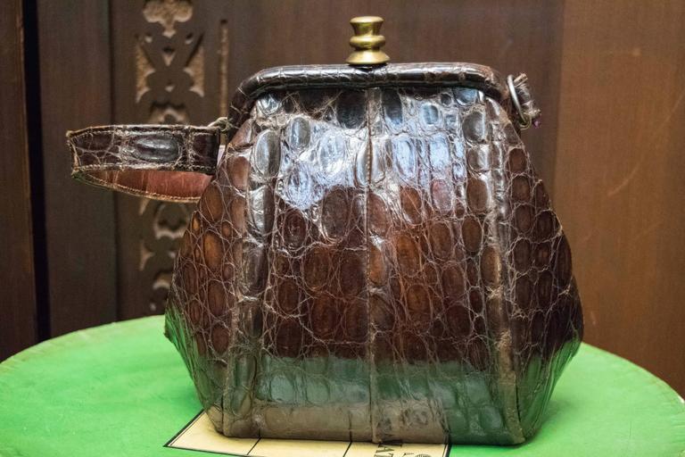1940s Brown Alligator Beggar Bag   L 10 H 8 D 6