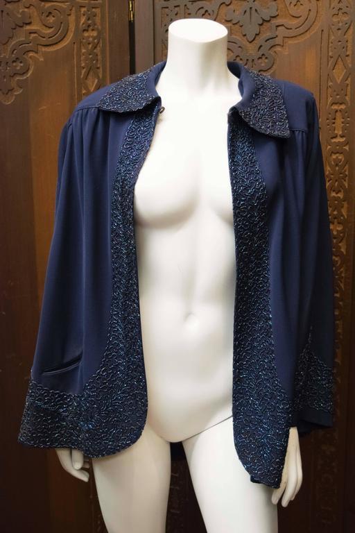 1940s Navy Blue Beaded Jacket 2