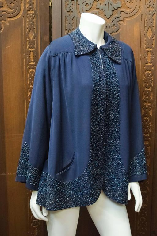 Purple 1940s Navy Blue Beaded Jacket For Sale