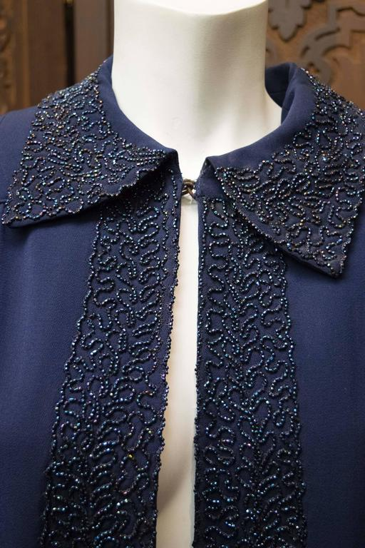 1940s Navy Blue Beaded Jacket In Excellent Condition For Sale In San Francisco, CA