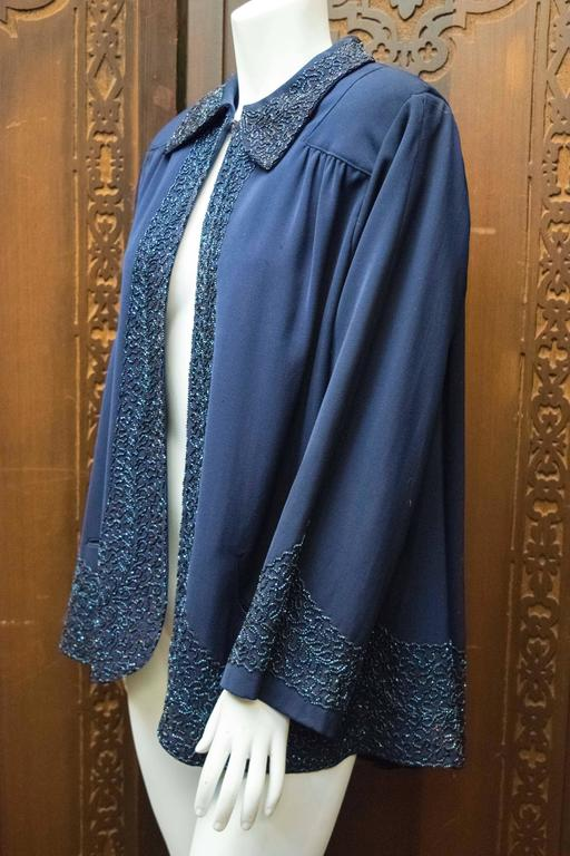 Women's 1940s Navy Blue Beaded Jacket For Sale