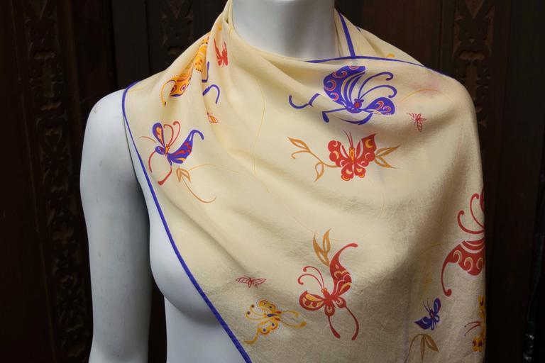 Beige Hattie Carnegie Silk Scarf For Sale
