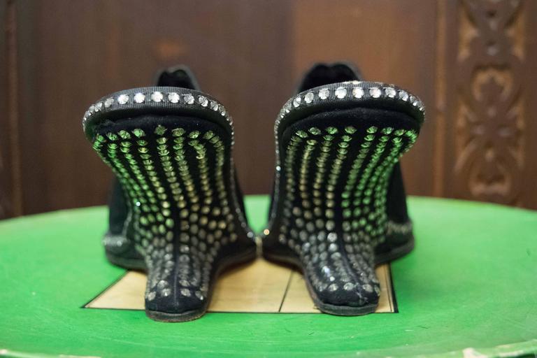 Black 1940s Rhinstone Heels  For Sale