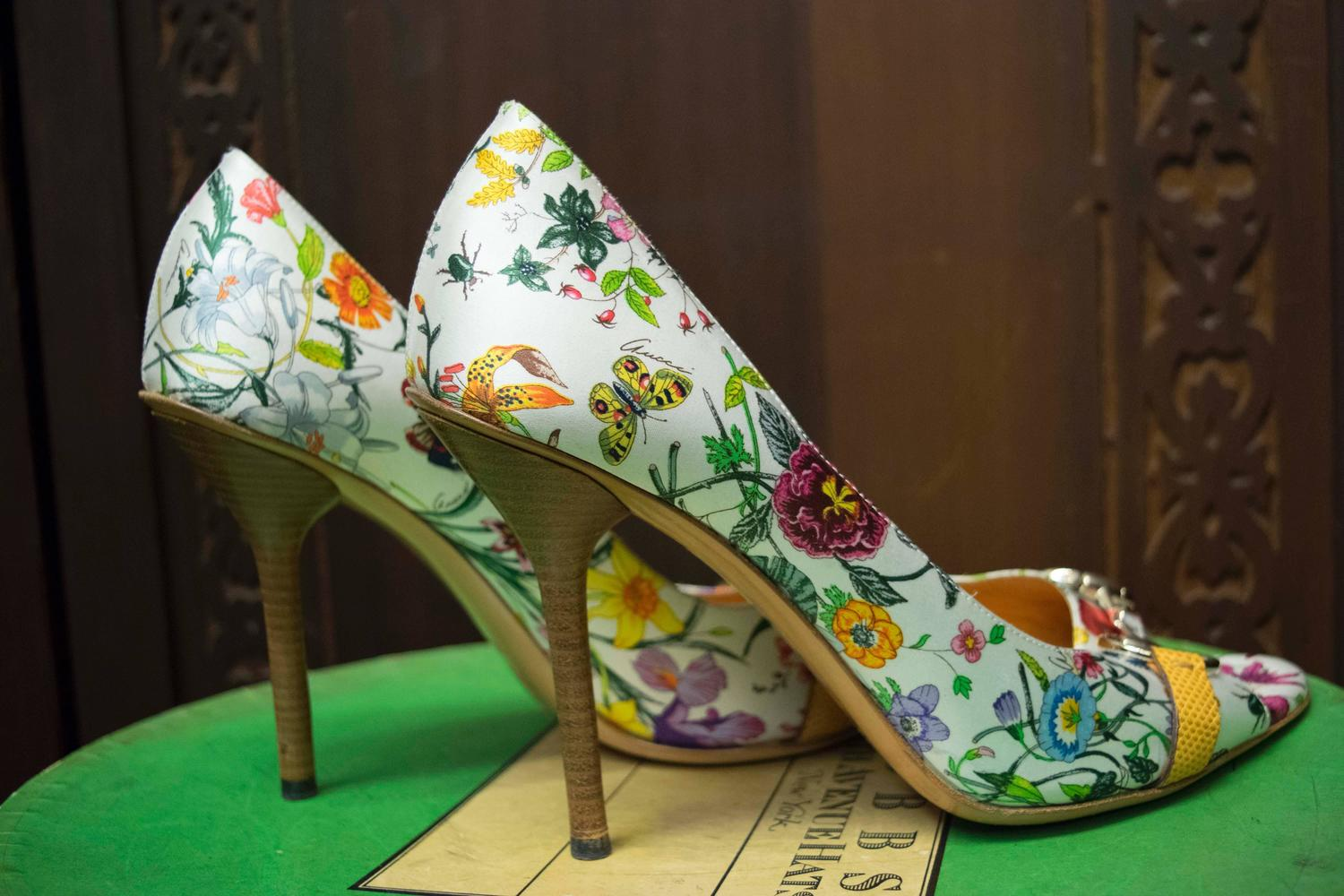 Gucci Floral Peep Toe High Heels For Sale At 1stdibs
