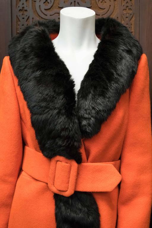 Orange 1960s Lilli Ann Red Rabbit Trimmed Coat  For Sale