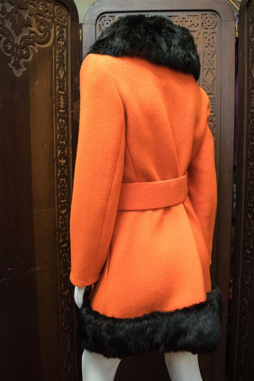 Women's 1960s Lilli Ann Red Rabbit Trimmed Coat  For Sale