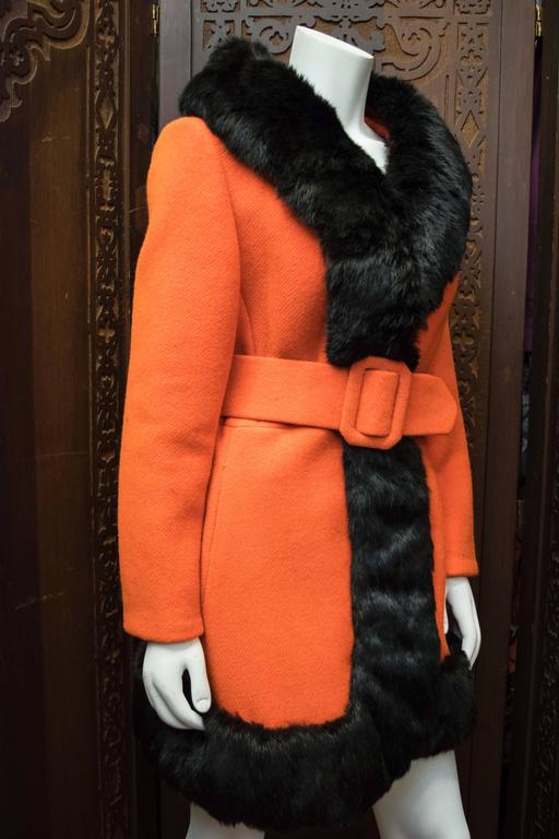1960s Lilli Ann Red Rabbit Trimmed Coat  In Good Condition For Sale In San Francisco, CA