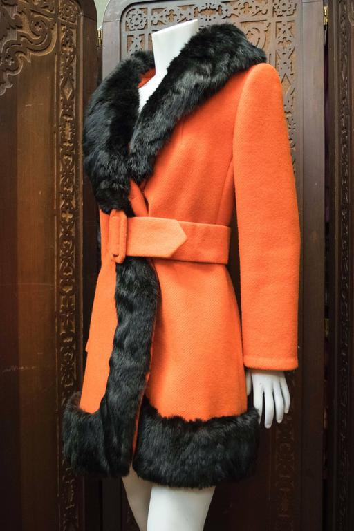 1960s Lilli Ann Red Rabbit Trimmed Coat  For Sale 1