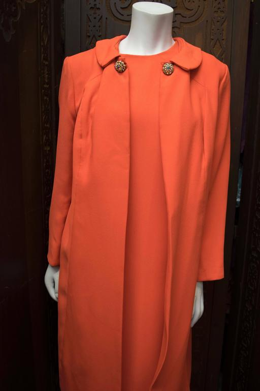 1960s Red Emma Domb Dress Coat Ensemble  5
