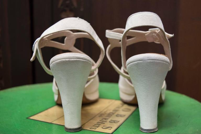 1940s White Suede Platform Shoes 2