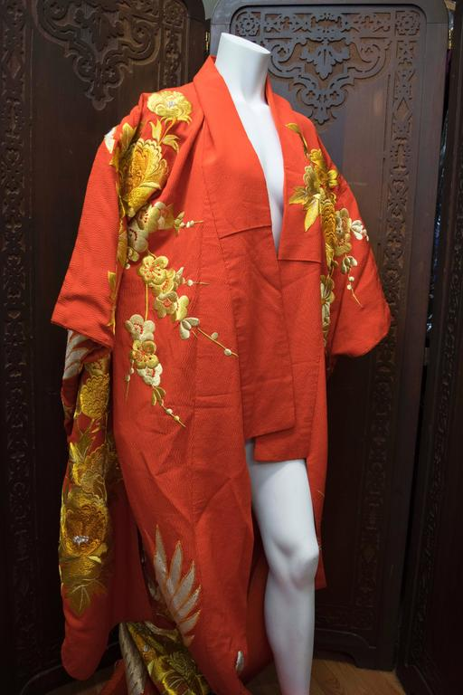 Brown Red and Gold Ceremonial Kimono For Sale