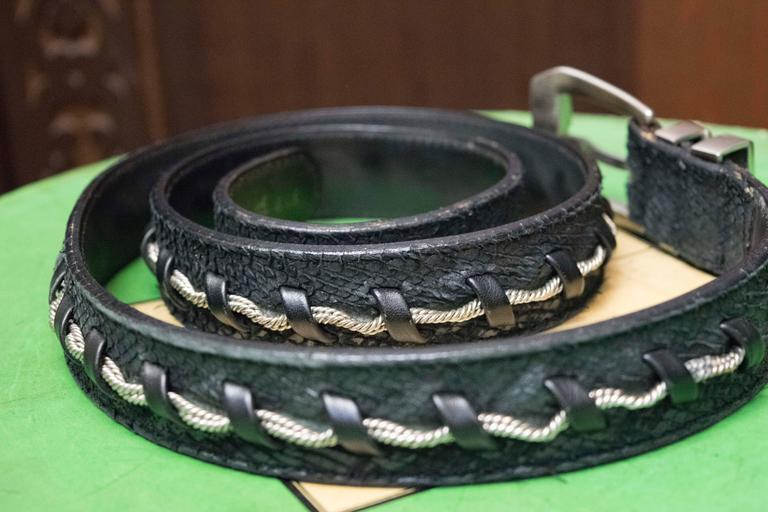Gianni Versace Faux Snakeskin and Silver Rope Belt  L 35-38 W 1.5