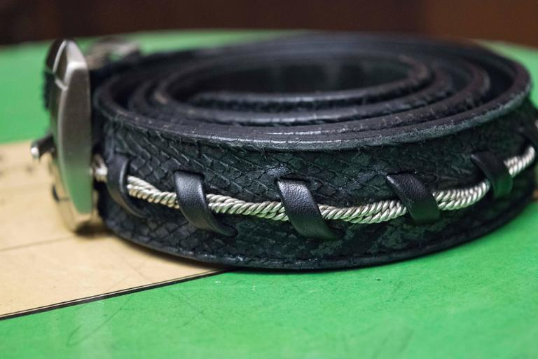 Black Gianni Versace Faux Snakeskin and Silver Rope Belt For Sale