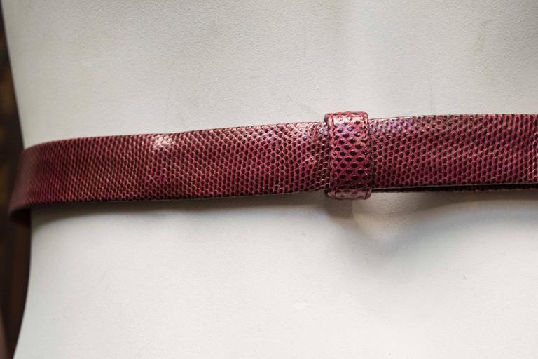 Women's or Men's 1980's Judith Leiber Maroon Lizard Skin Belt w/ Gold Tone Buckle For Sale