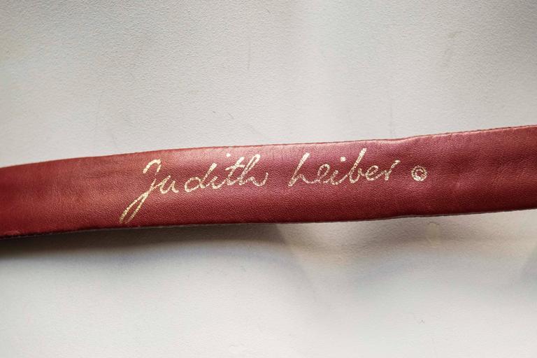 1980's Judith Leiber Maroon Lizard Skin Belt w/ Gold Tone Buckle For Sale 1