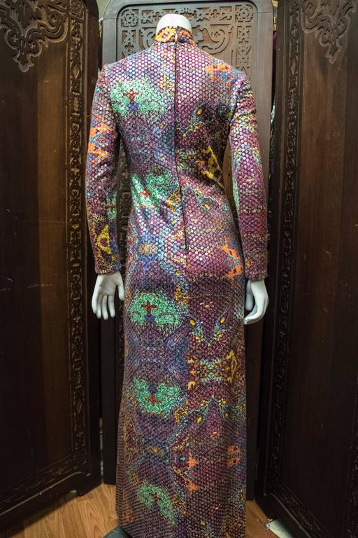 Malcolm Starr Sequined Psychedelic Dress, 1970s 4