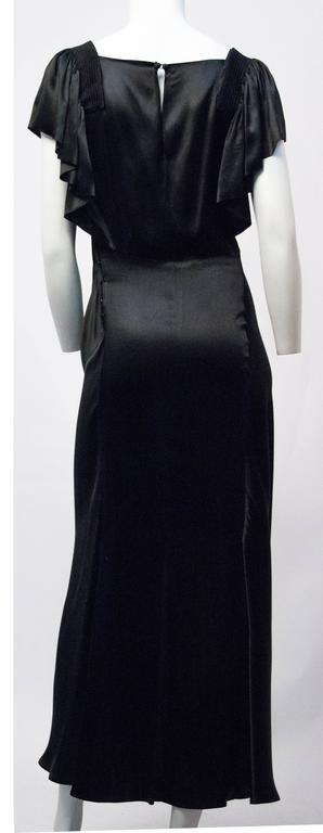 30s Black Satin Bias Cut Evening gown at 1stdibs