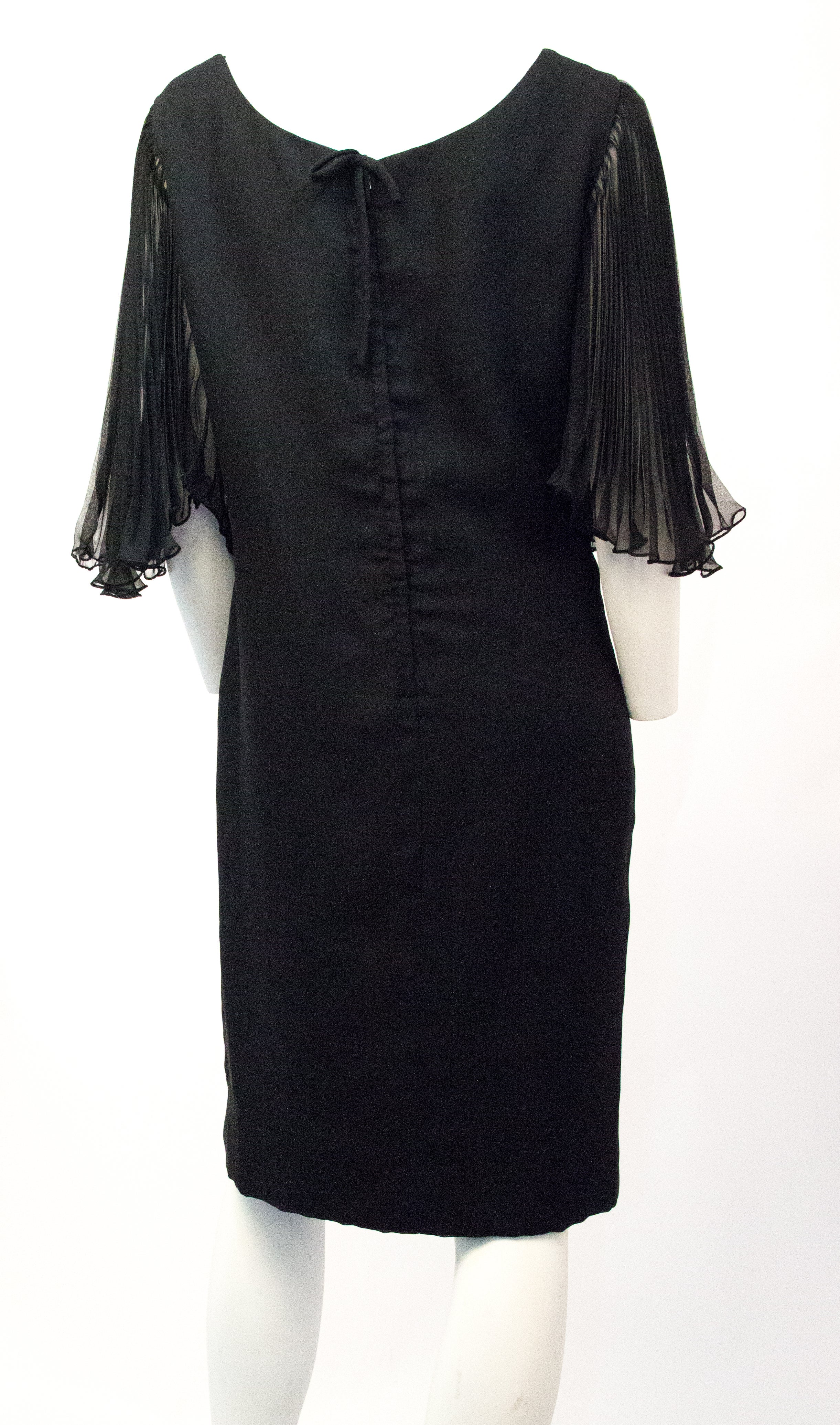 d0bccd4cb88b0 70s Little Black Dress with Pleated Chiffon Butterfly Sleeves For Sale at  1stdibs