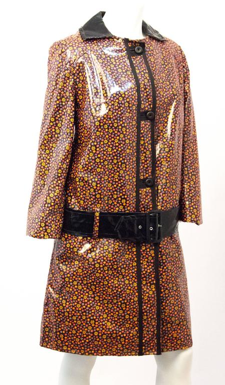 60s Mod Vinyl Rain Coat with Flowers  2