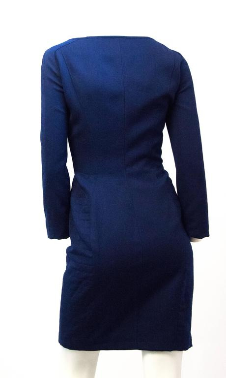 90s Mugler cobalt fitted coat dress. Quilted side and sleeve panels. Zippers up the front. Fully lined.