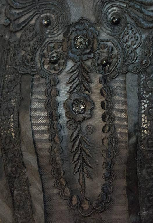 Edwardian Black Mesh Embroidered Blouse with Black Silk Embroidery and Jet Beads In Excellent Condition For Sale In San Francisco, CA